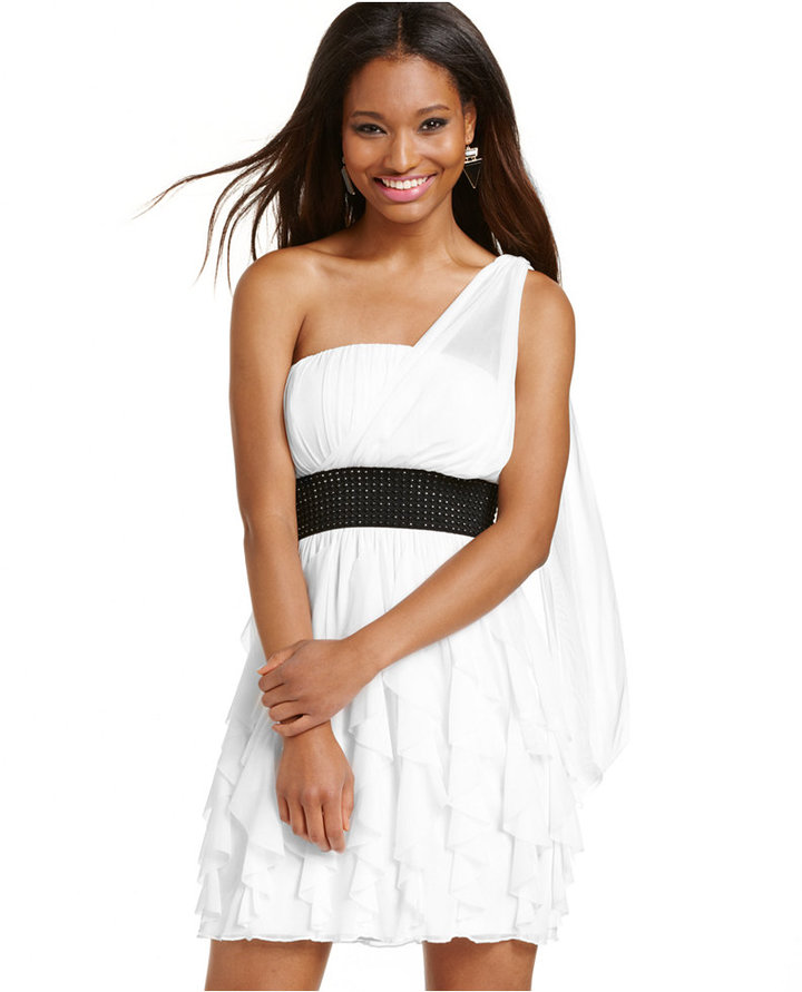 Roberta Juniors' One-Shoulder Ruffled Dress