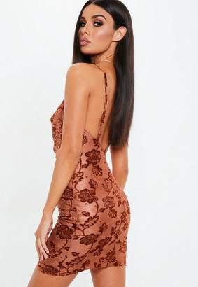 Missguided Rust Burnout Strappy Cowl Neck Mini Dress
