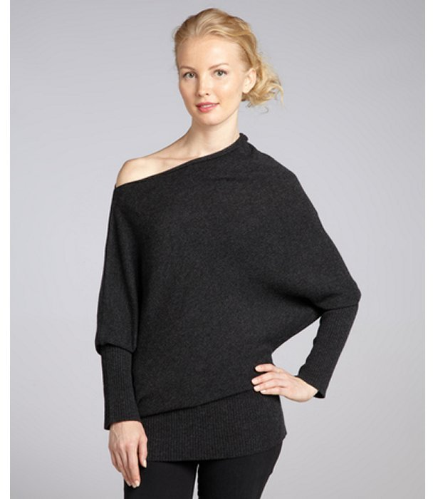 CeCe charcoal asymmetrical relaxed boatneck cashmere sweater