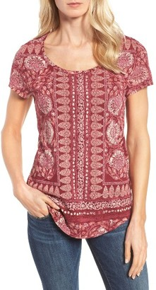 Women's Lucky Brand Border Floral Tee $39.50 thestylecure.com