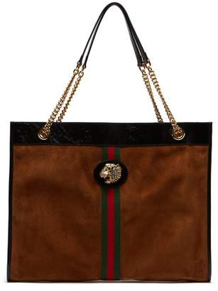 Gucci Rajah Web Striped Suede Tote Bag - Womens - Tan