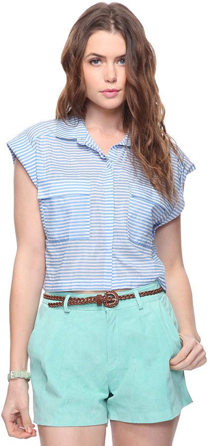 Forever 21 Silk Blend Striped Shirt