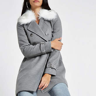 River Island Grey faux fur collar coat