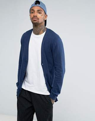 Asos DESIGN Longline Cotton Cardigan In Relaxed Fit In Navy