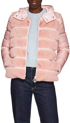 Moncler Women's Mink-Fur-Trimmed Down Puffer Jacket - Pink