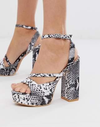 Lost Ink square toe platform heeled sandal in snake