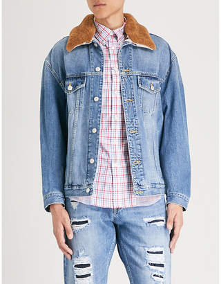 Alexander McQueen Shearling-collar denim jacket