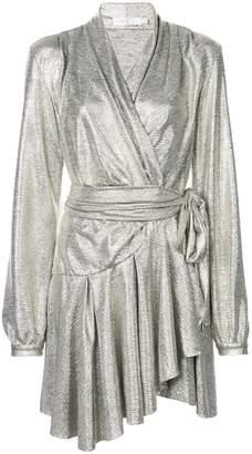 Cara Patbo lamé wrap dress