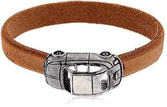 Alcozer & J Silver Car Charm & Leather Bracelet