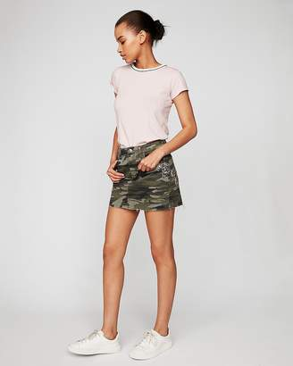 Express Mid Rise Camo Floral Embellished Mini Skirt