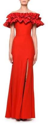 Alexander McQueen Ruched Taffeta Off-the-Shoulder Column Evening Gown