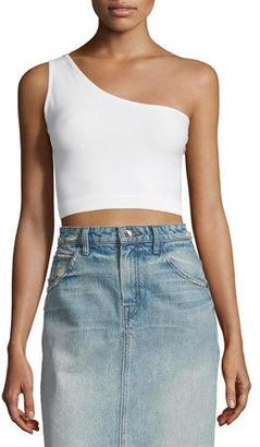 Helmut Lang One-Shoulder Cropped Stretch-Knit Bra Top, Optic White $31 thestylecure.com