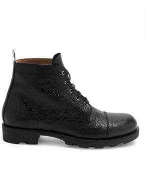 Thom Browne Men's Pebbled Leather Cap Toe Derby Boots - Black - Size 7