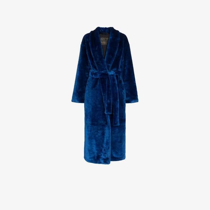 Navro Royal Blue Belted Faux Fur Coat