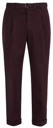Prada Belted Stretch Cotton Chino Trousers - Mens - Burgundy