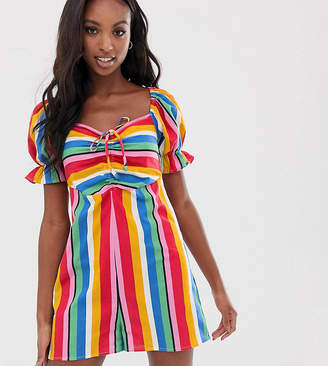 Asos Tall DESIGN Tall romper with puff sleeve and tie detail in rainbow stripe