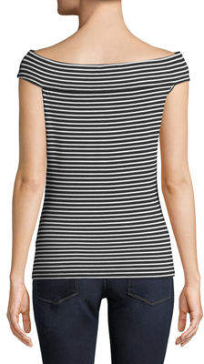 Neiman Marcus Striped Off-The-Shoulder Fitted Tee