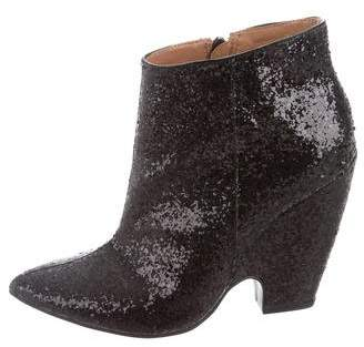 Madison Harding Glitter Pointed-Toe Ankle Boots