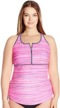 Free Country Women's Plus Size Sunset Strip Zip Front Racerback Tankini Top
