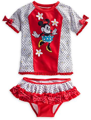 Disney Minnie Mouse Deluxe Rash Guard Swim Set for Girls