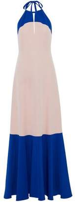 Milly Cutout Two-Tone Cady Halterneck Gown