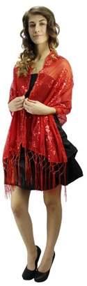 Luxury Divas Sheer Sequin Shawl Wrap With Fringe