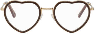 Chloé Brown and Gold Heart Glasses