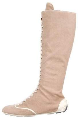 Prada Sport Lace-Up Knee-High Boots