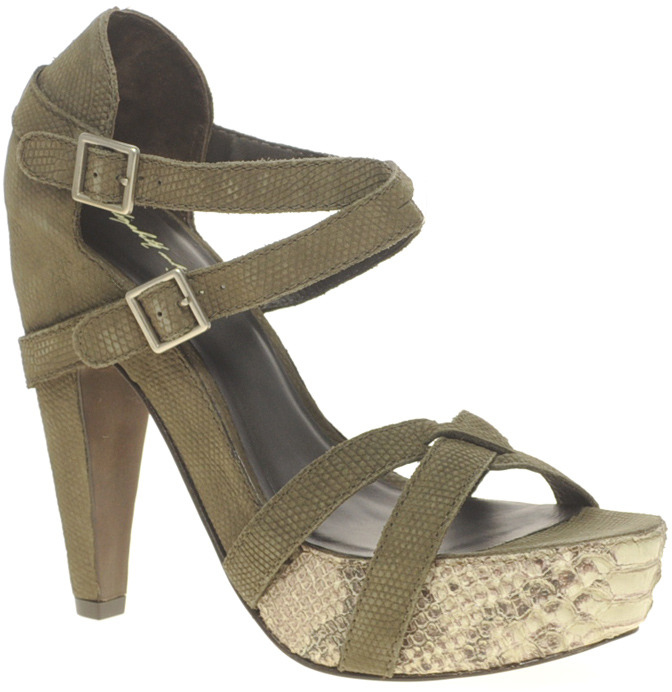 Elizabeth and James Tari Sandal With Snakeskin Platform