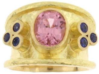 Elizabeth Locke 19K Yellow Gold with 6ct Pink Spinel & Sapphire Ring Size 6.75