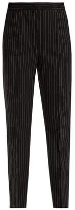 Dolce & Gabbana High Rise Pinstriped Wool Blend Trousers - Womens - Navy White