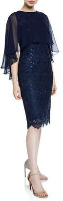 Rickie Freeman For Teri Jon Sequin Draped-Sleeve Lace Sheath Dress with Chiffon Capelet