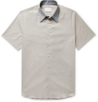 Prada Slim-Fit Contrast-Trimmed Stretch Cotton-Blend Poplin Shirt
