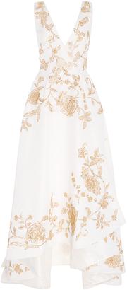 Oscar de la Renta Sleeveless V Neck Lam High Low Gown $13,990 thestylecure.com