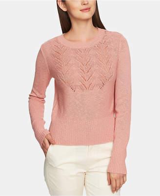 1 STATE 1.state Pointelle-Yoke Long-Sleeve Sweater