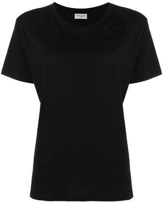 Saint Laurent logo embroidered jersey T-shirt