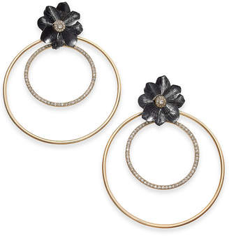 "Thalia Sodi Extra Large 2.75"" Two-Tone Crystal Flower Double Hoop Earrings"