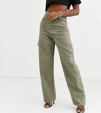 Asos Tall DESIGN Tall High rise 'relaxed' dad jeans in khaki