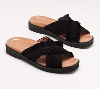 Vionic Suede Ruffle Cross-Band Slide Sandals - Azalea