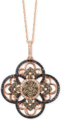 LeVian Le Vian Diamond Clover Pendant Necklace in 14k Rose Gold (7/8 ct. t.w.), Created for Macy's