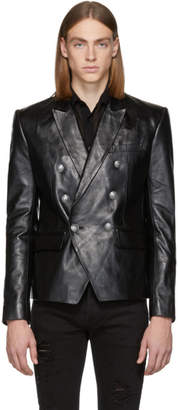 Balmain Black Leather Double-Breasted Blazer