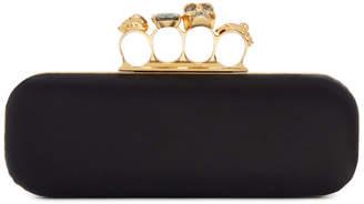 Alexander McQueen Black Satin Four Ring Clutch