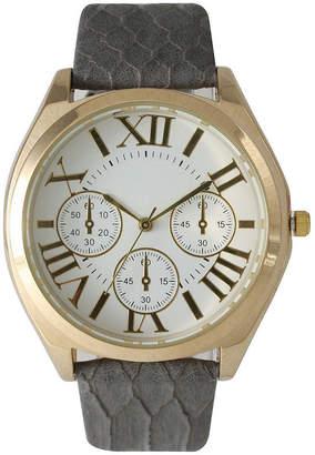 OLIVIA PRATT Olivia Pratt Womens Decorative Chronograph Dial Gray Croc-Embossed Leather Watch 26328