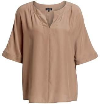St. John Plain Weave Dolman-Sleeve Top