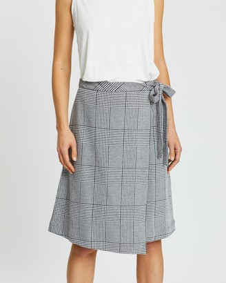 Banana Republic Plaid Midi Wrap Skirt