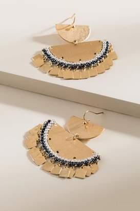 francesca's Fay Tiered Crescent Drop Earrings - Hematite