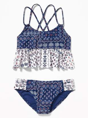 Old Navy Mixed-Print Ruffled Tankini Swim Set for Girls