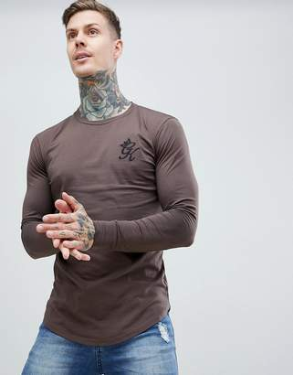 Gym King Long Sleeve Top in dark brown