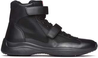 Prada Linea Rossa Black Leather And Fabric High-top Sneakers