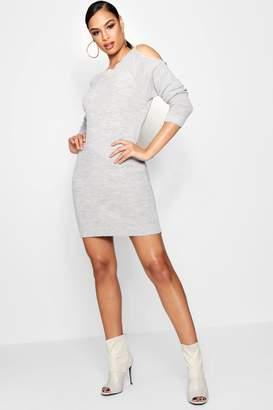 boohoo Diana Cold Shoulder Jumper Dress